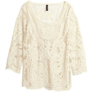 H&M Divided Lace Embroidered Top